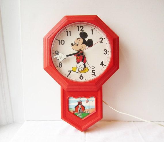 Vintage Mickey Mouse Clock Disney Elgin Wall Clock
