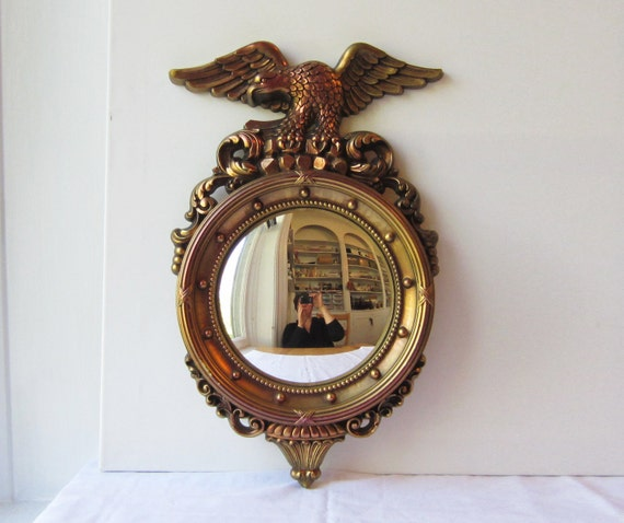 Vintage Syroco Round Convex Fisheye Mirror With Eagle