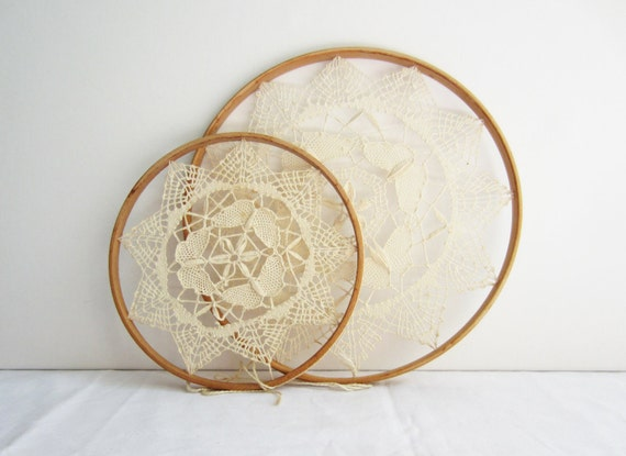 Vintage Crochet Hoop Wall Hanging Pair