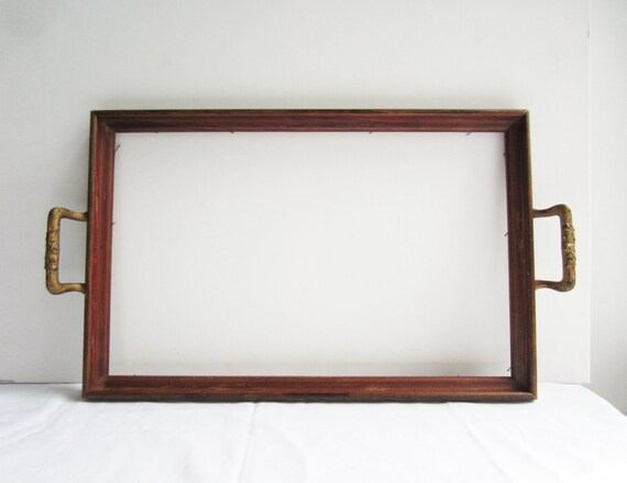 Beautiful Wood Tray with Beautiful decorative Metal Handles - Just add your creativity to finish this