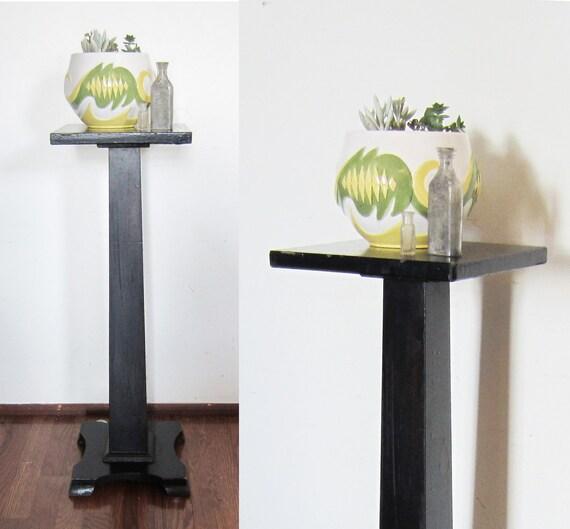Vintage Black Pedestal Plant Stand