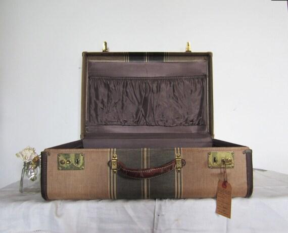 Vintage Tweed Striped Suitcase - Leather Trim & Handle