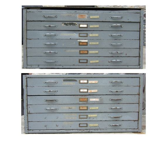 RESERVED for Dan - Vintage Industrial  Metal Blueprint Map Cabinets - 12 drawers total (two sections of 6)