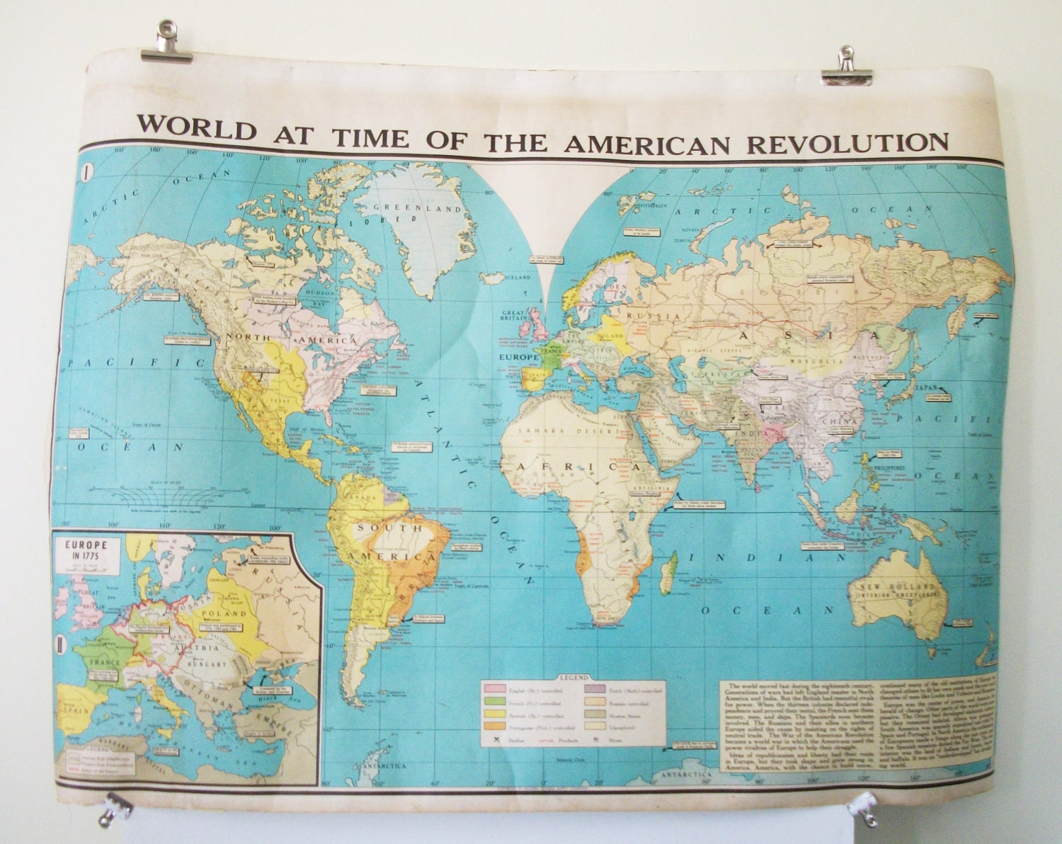 Large Colorful Vintage School Map World at Time of The