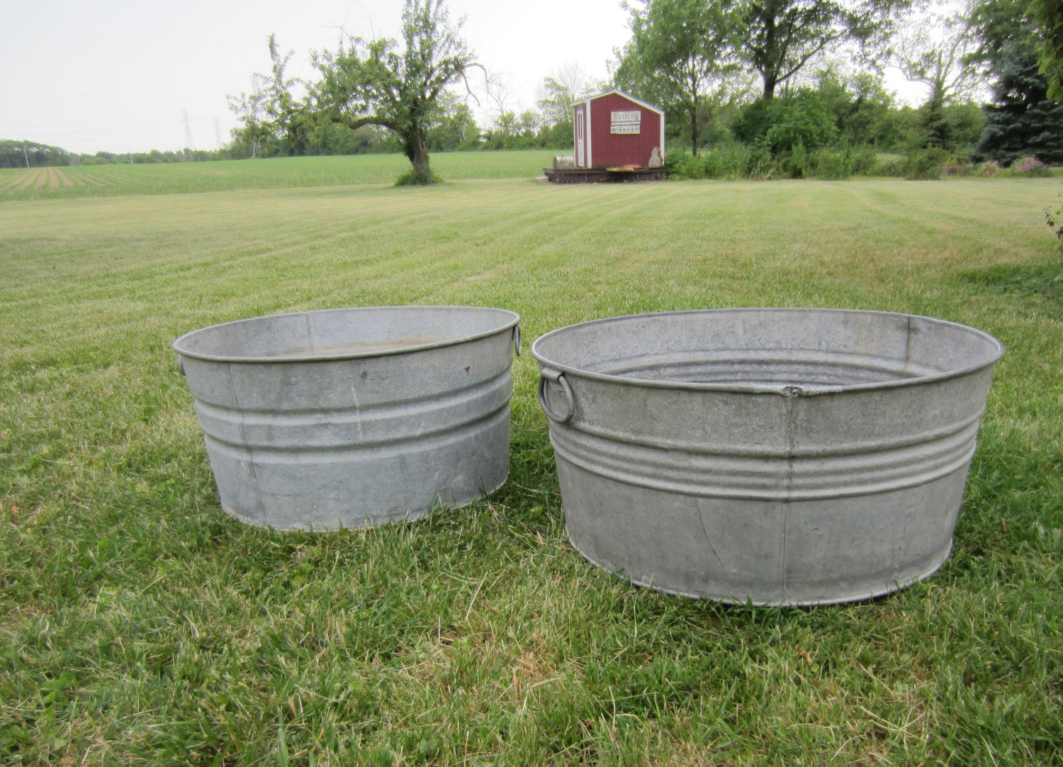 Two vintage galvanized wash tub rustic outdoor wedding party for Large metal tub for gardening