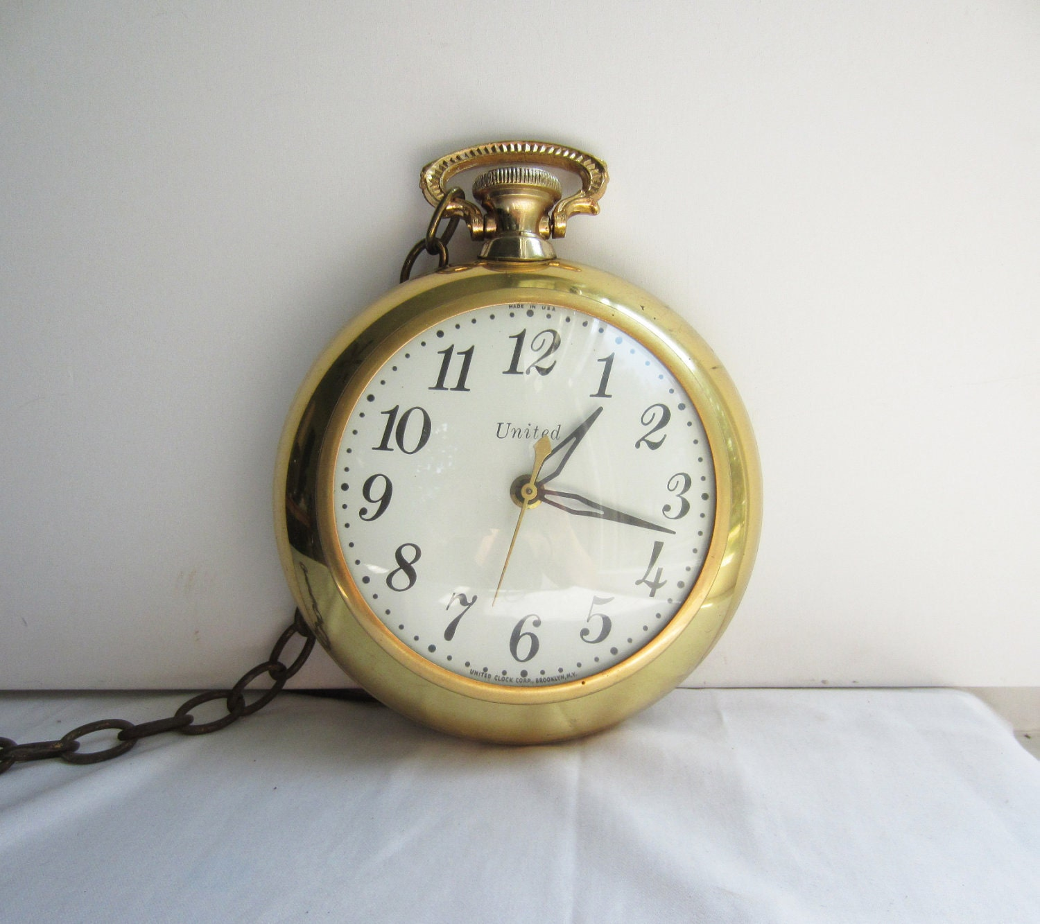 Vintage Brass Pocket Watch Wall Clock United Clock Corp