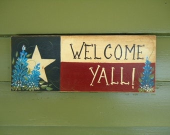 Hand Painted Welcome Yall Texas Wood Sign