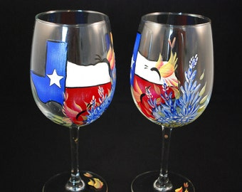 State of Texas Bluebonnet Wine Glasses (pair)