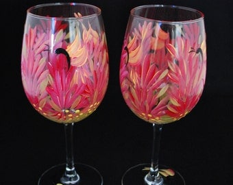 Hand painted Indian Paintbrush Red Wine Glass (pair)