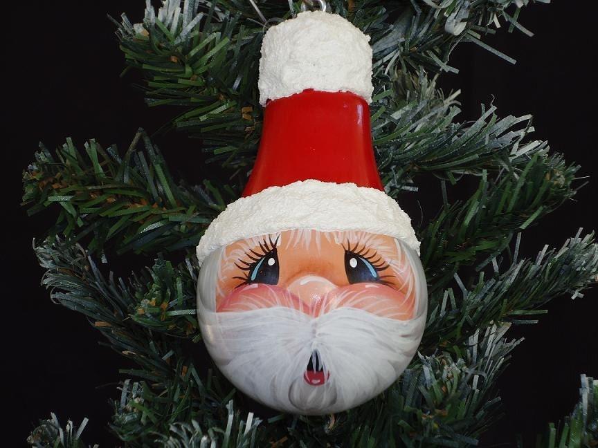Handpainted Christmas Tree Santa light bulb ornament