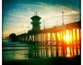 Pier at Sunset - Warm California Sunset Square Fine Art Photo, Huntington Beach, Beach Decor, Beach Photo, Square Photo, Beach House Art
