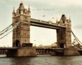 Tower Bridge - London England Fine Art Photo 8X10, Famous London Landmark, Vintage Feel Photo, London Photo, Wall Art