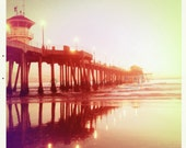 HB Pier at Sunset Vintage feel Photo - Pier Reflections 5x5 California photo