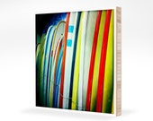 """Surf Photography - Colorful Longboards - Square Surfing Photo 5x5 - Mounted on 3/4"""" Plywerk Bamboo"""