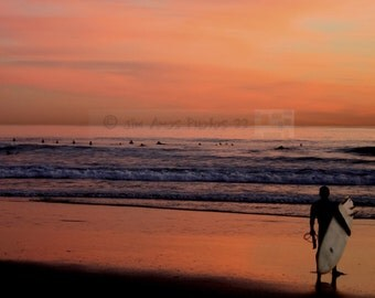 Sunset Surfer - California Surfing Photo 8X10 - surfing photography, beach scene, California photo