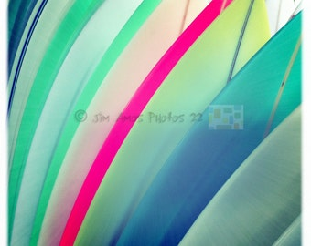 Bright Colored Surfboards - Square Surfing Photo, Bright Color Wall Art, Surfing Photo, Beach Decor, Wall Art