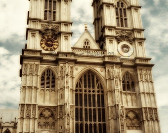 Westminster Abbey  - London England Fine Art Photo, sepia, landmark, wall decor, London