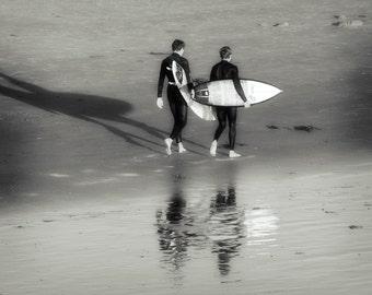 Surfing Photo - Surfers Walking on the Beach - 8x10 Black & White Beach Photo, Huntington Beach, California, Surf City, Beach House