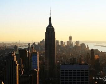New York Sunset Photo - 8x12 photo of Manhattan - Empire State Building , Statue of Liberty , Brooklyn Bridge