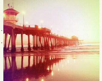 Vintage feel Beach Photo - Pier Reflections - 8x8 photo of the Huntington Beach Pier
