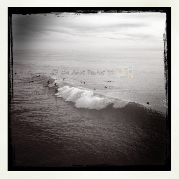 3 Surfers 1 Wave - B/W Square Photo taken in Surf City California, Wall Decor, Surfing Photo, Surf Photography, Huntington Beach