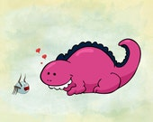 Little Dinosaur and Friend 8x10 Print