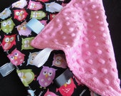 Owls  lovey minky security blanket baby cotton fabric