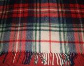 Vintage 1950s Virgin Wool Plaid Blanket - Red, Blue, Green, White