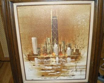 Vintage/Original 1970's Chicago Skyline Painting