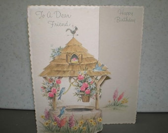 Vintage 1950s Unused Illustrated Greeting Card - To A Dear Friend - Happy Birthday