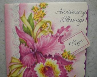 Vintage Unused Mid Century Greeting Card - Anniversary Blessings