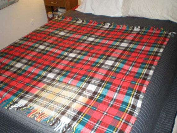 Vintage 1950s Red Plaid Wool Blanket