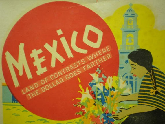 Vintage Luggage Travel Sticker - Mexico