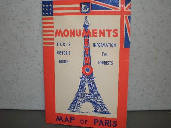 Mid Century Illustrated Paris Travel Guide & Metro Maps