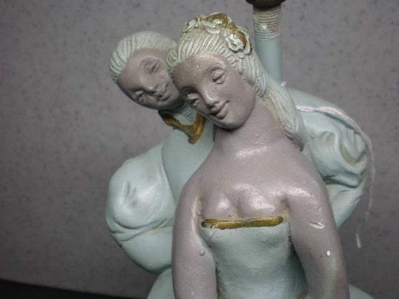 Reserved for Katyrose - Vintage Mid Century Turquoise Ceramic Lamp - Ballet Dancers