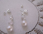 Earring Jackets for Posts or Studs,  Pearl and Sterling Sparkle Ball, Bridal, Dressy