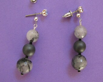 Sale!  Earring Jacket for Posts or Studs - Tourmalated Quartz, Grey Metallic Ball Dangle