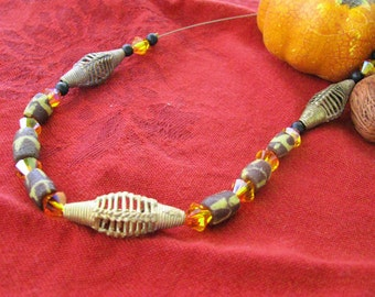 Sale!  African Ethnic Brass Beads and Animal Print Trade Bead,Swarovski - Orange Sunset Fashion Necklace - FN2018