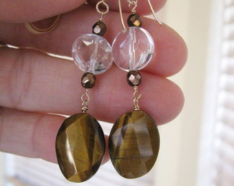 Sale! Bronze Tigers Eye Topaz Quartz Faceted Crystal Gold Wired Drop Fashion Earrings