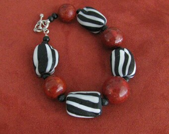Chunky Zebra black and white striped Glass Red Sponge Coral Animal Print and Vintage Wooden Bead Bracelet