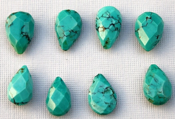 Private listing for LAURA 12 pcs Natural Sleeping Beauty Turquoise Faceted Pear Briolettes