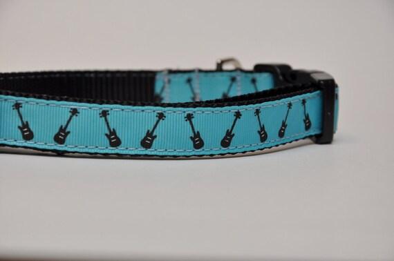 Medium Music Loving Guitar Dog Collar