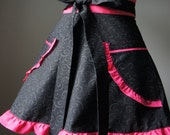Pink Valentine's Day Apron with Black Swirls and Hot Pink Contrast makes this a perfect Valentine's  Gift for Her