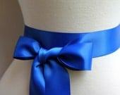 Royal Blue Satin Sash Belt - Double Faced Satin Ribbon Sash - Beach Summer Wedding - Bridal Bridesmaids Flower girl Sashes - Many Colors