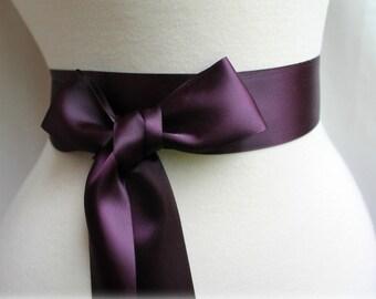 Aubergine Eggplant Deep Plum Sash Belt - Double Faced Satin Ribbon Sash - Bridal Bridesmaids Flower girl Sashes