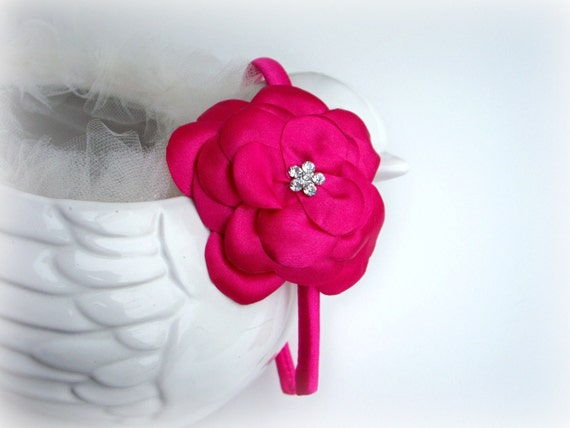 Headband Fushia Hot Pink Flower - Crystal Rhinestone - Bridal Bridesmaids Flower girls - Many colors