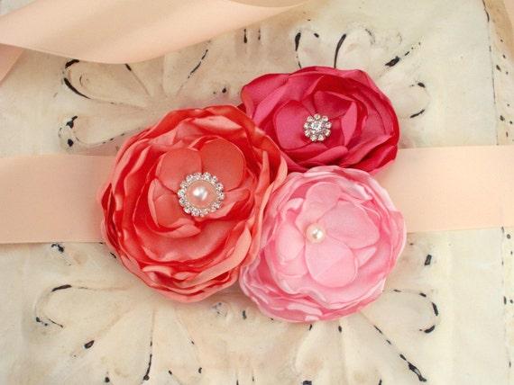 Bridal Floral Sash Belt Two Piece - Coral Peach Light Pink - Crystal Rhinestone Pearl - Bridesmaids Sashes - Romantic Wedding - Many Colors