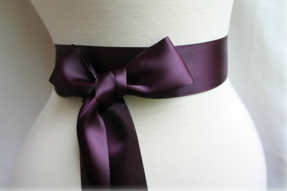 Aubergine Eggplant Deep Plum Sash Belt - Double Faced Satin Ribbon Sash - Bridal Bridesmaids Flower girl Sashes