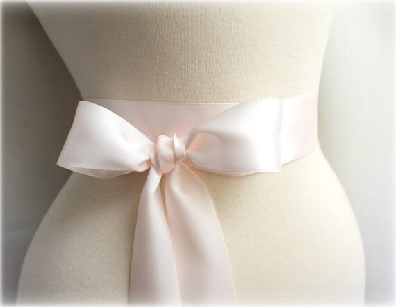 Pale Blush Pink Sash Belt - Double Faced Satin Ribbon Sash - Bridal Bridesmaids Flower girl Sashes - Many Colors