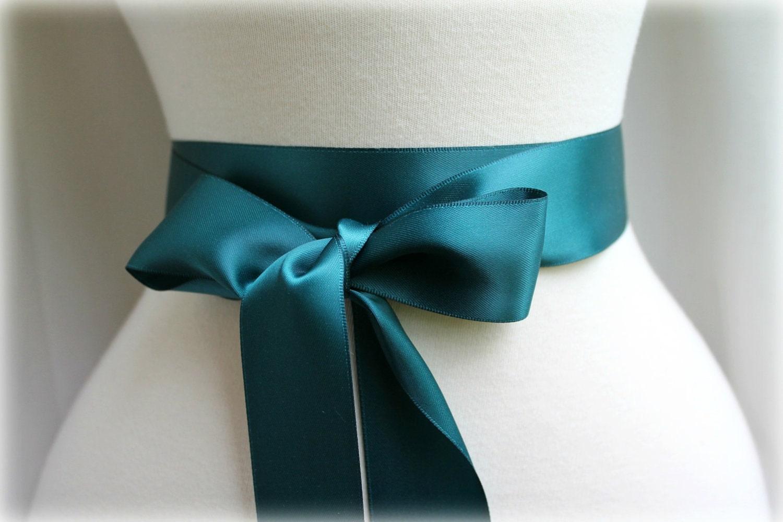 Teal satin sash belt double faced satin ribbon sash beach for Peacock wedding dress sash